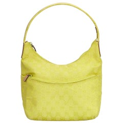 Vintage Authentic Gucci Yellow Jacquard Fabric GG Hobo Bag Italy SMALL