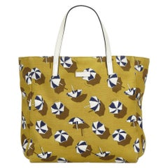 Vintage Authentic Gucci Yellow Printed Tote Bag Italy w Dust Bag LARGE