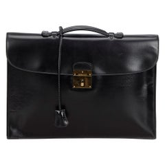 Vintage Authentic Hermes Black Box Quirus Business Bag France LARGE