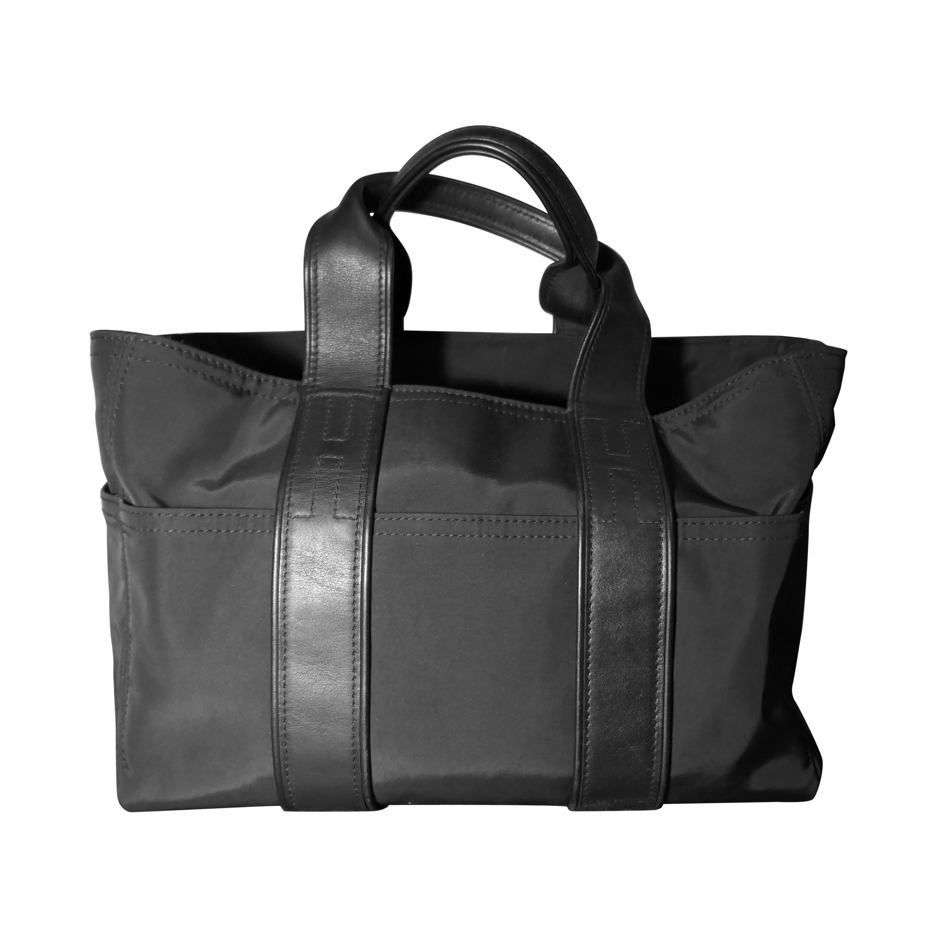 Vintage Authentic Hermes Black Leather and Nylon Fabric Acapulco PM Tote Bag