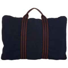 Vintage Authentic Hermes Blue Canvas Fabric Fourre Tout Briefcase FRANCE LARGE