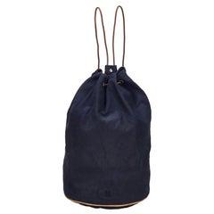 Vintage Authentic Hermes Blue Navy Canvas Fabric Polochon Mimile France LARGE