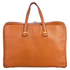 Vintage Authentic Hermes Brown Leather Valise Galop 50 France LARGE