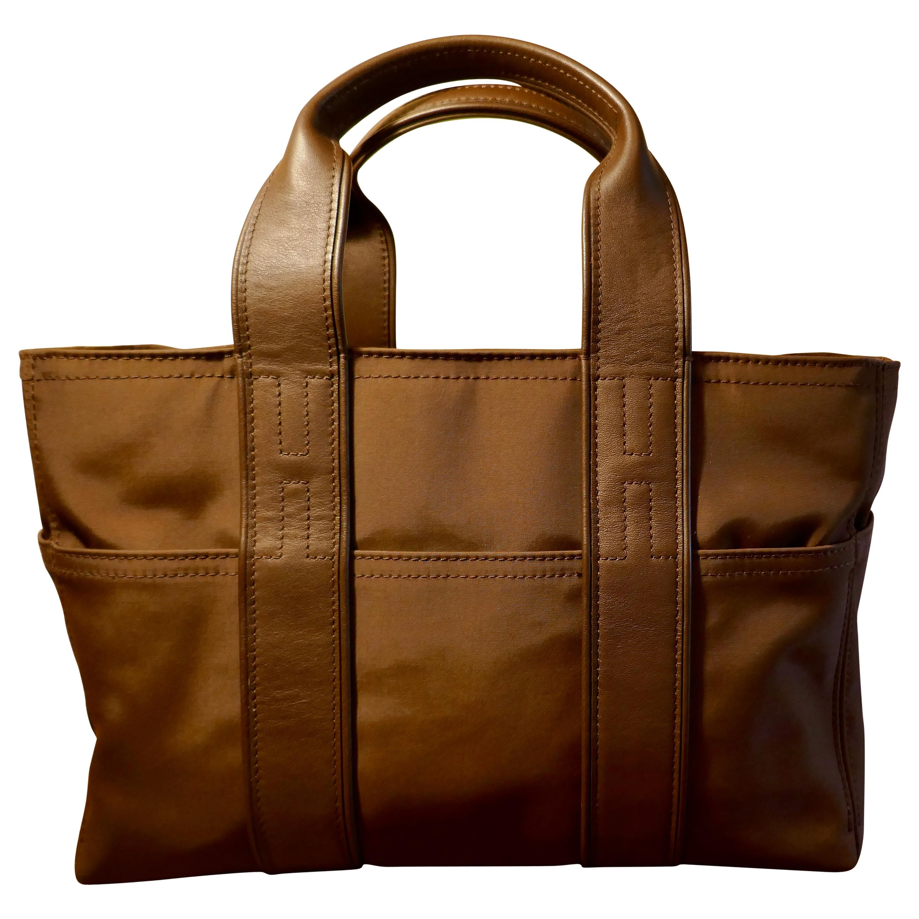 Vintage Authentic Hermes Chocolate Brown Leather and Nylon Acapulco PM Tote Bag