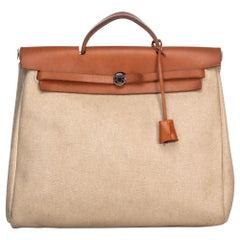 Vintage Authentic Hermes White Herbag MM Satchel France w Dust Bag Key MEDIUM