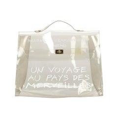 Vintage Authentic Hermes White Vinyl Plastic Kelly Handbag France LARGE