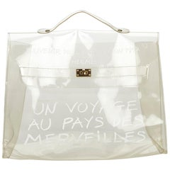Vintage Authentic Hermes White Vinyl Plastic Kelly Handbag France LARGE