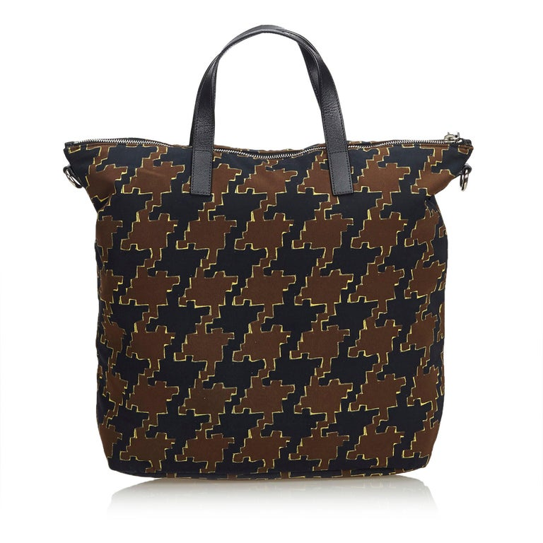 Black Vintage Authentic Houndstooth Printed Satchel w Dust Bag Authenticity Card  For Sale