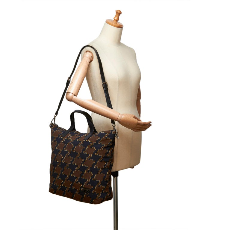 Vintage Authentic Houndstooth Printed Satchel w Dust Bag Authenticity Card  For Sale 4