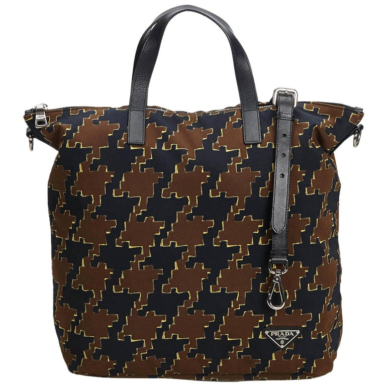 Vintage Authentic Houndstooth Printed Satchel w Dust Bag Authenticity Card  For Sale