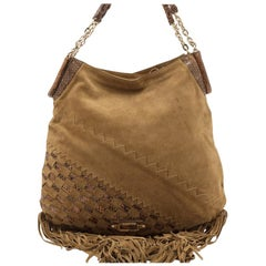 Vintage Authentic Jimmy Choo Brown Suede Leather Hobo Bag Italy w LARGE