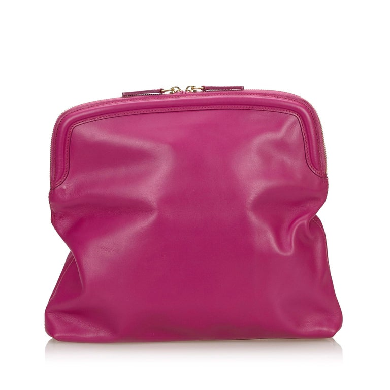 Pink Vintage Authentic Leather Skull Padlock Fold over Clutch Bag w Padlock Key  For Sale