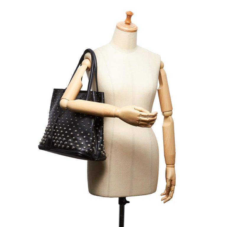 Vintage Authentic Leather Skull Padlock Studded Tote Bag w Padlock Key  For Sale 5