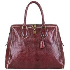 Vintage Authentic Leather Studded Handbag w Padlock Key Padlock Key