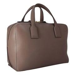 Vintage Authentic Loewe Brown Calf Leather Calfskin Goya Handbag Spain w LARGE