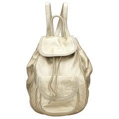 Vintage Authentic Loewe Gold Leather Metallic Backpack Spain MEDIUM