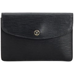 Vintage Authentic Louis Vuitton Black Epi Leather Clutch Bag France SMALL
