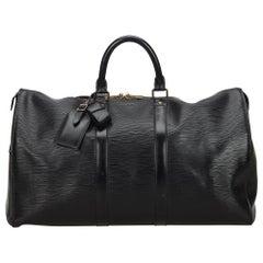 Vintage Authentic Louis Vuitton Black Keepall 50 France w Dust Bag LARGE
