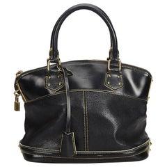 Vintage Authentic Louis Vuitton Black Lockit MM France w Padlock Padlock MEDIUM