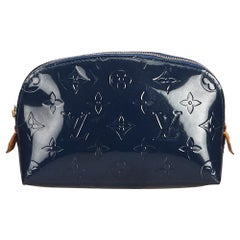 Vintage Authentic Louis Vuitton Black Vernis Leather Cosmetic Pouch Spain SMALL
