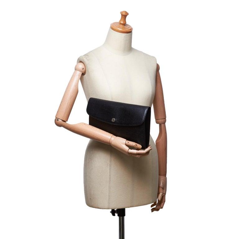 Vintage Authentic Louis Vuitton Black Vintage Montaigne France w Dust Bag SMALL  For Sale 7