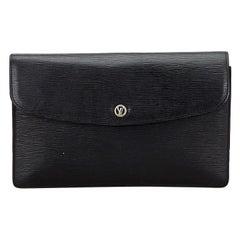 Vintage Authentic Louis Vuitton Black Vintage Montaigne France w Dust Bag SMALL