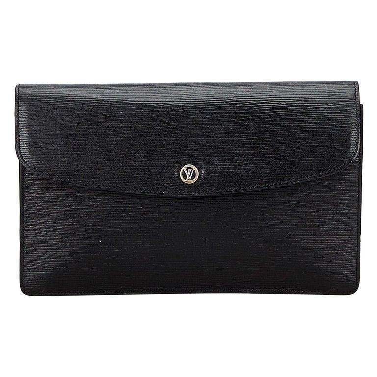 Vintage Authentic Louis Vuitton Black Vintage Montaigne France w Dust Bag SMALL  For Sale