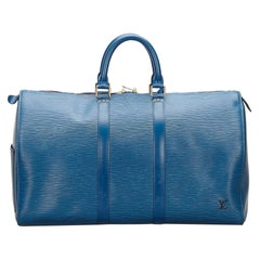 Vintage Authentic Louis Vuitton Blue Epi Leather Keepall 50 FRANCE LARGE