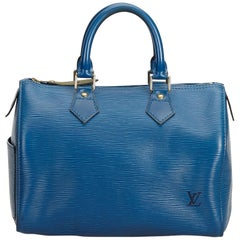 Vintage Authentic Louis Vuitton Blue Epi Leather Speedy 25 France MEDIUM