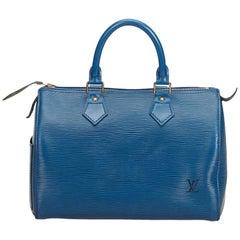 Vintage Authentic Louis Vuitton Blue Epi Leather Speedy 25 France MEDIUM