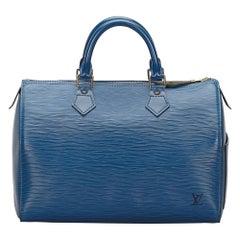 Vintage Authentic Louis Vuitton Blue Epi Leather Speedy 30 France MEDIUM