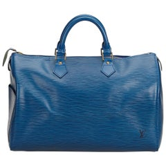 Vintage Authentic Louis Vuitton Blue Epi Leather Speedy 40 France LARGE
