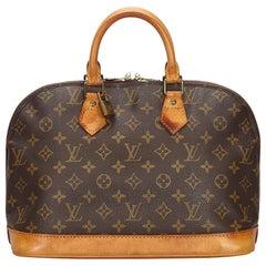 Vintage Authentic Louis Vuitton Brown Alma PM France w Padlock Padlock SMALL