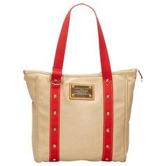 Vintage Authentic Louis Vuitton Brown Antigua Cabas MM France MEDIUM