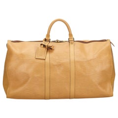 Vintage Authentic Louis Vuitton Brown Beige Epi Leather Keepall 55 France LARGE