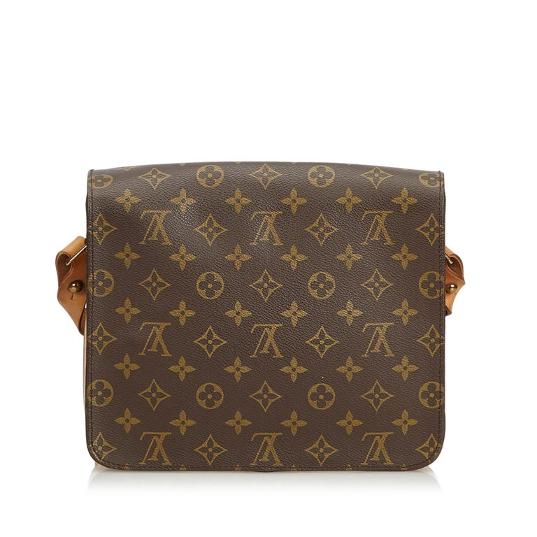 Vintage Authentic Louis Vuitton Brown Cartouchiere GM France LARGE  In Good Condition For Sale In Orlando, FL
