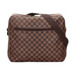Vintage Authentic Louis Vuitton Brown Ebene Dorsoduro FRANCE MEDIUM