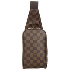 Vintage Authentic Louis Vuitton Brown Ebene Geronimos France SMALL