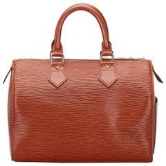 Vintage Authentic Louis Vuitton Brown Epi Leather Speedy 25 France MEDIUM
