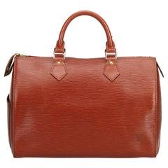Vintage Authentic Louis Vuitton Brown Epi Leather Speedy 30 France MEDIUM