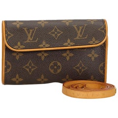 Vintage Authentic Louis Vuitton Brown Florentine Pochette France SMALL