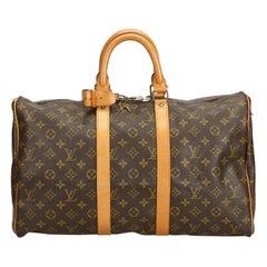 Vintage Authentic Louis Vuitton Brown Keepall 45 France w Padlock Key LARGE
