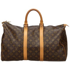 Vintage Authentic Louis Vuitton Brown Keepall 45 France w Padlock LARGE