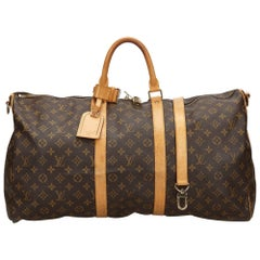 Vintage Authentic Louis Vuitton Brown Keepall 50 France w Padlock Padlock LARGE