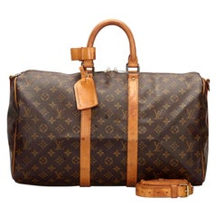 Vintage Authentic Louis Vuitton Brown Keepall Bandouliere 45 France LARGE