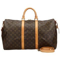Vintage Authentic Louis Vuitton Brown Keepall Bandouliere 50 France LARGE