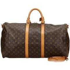 Vintage Authentic Louis Vuitton Brown Keepall Bandouliere 55 France LARGE