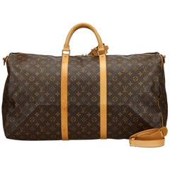 Vintage Authentic Louis Vuitton Brown Keepall Bandouliere 60 France LARGE