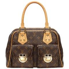 Vintage Authentic Louis Vuitton Brown Manhattan PM France w SMALL