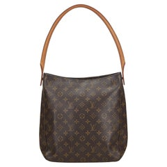 Vintage Authentic Louis Vuitton Brown Monogram Canvas Looping GM FRANCE w LARGE